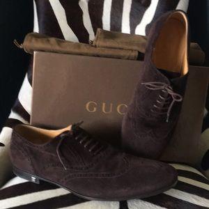 GUCCI men's choco suede wingtip 11 45 shoe bags